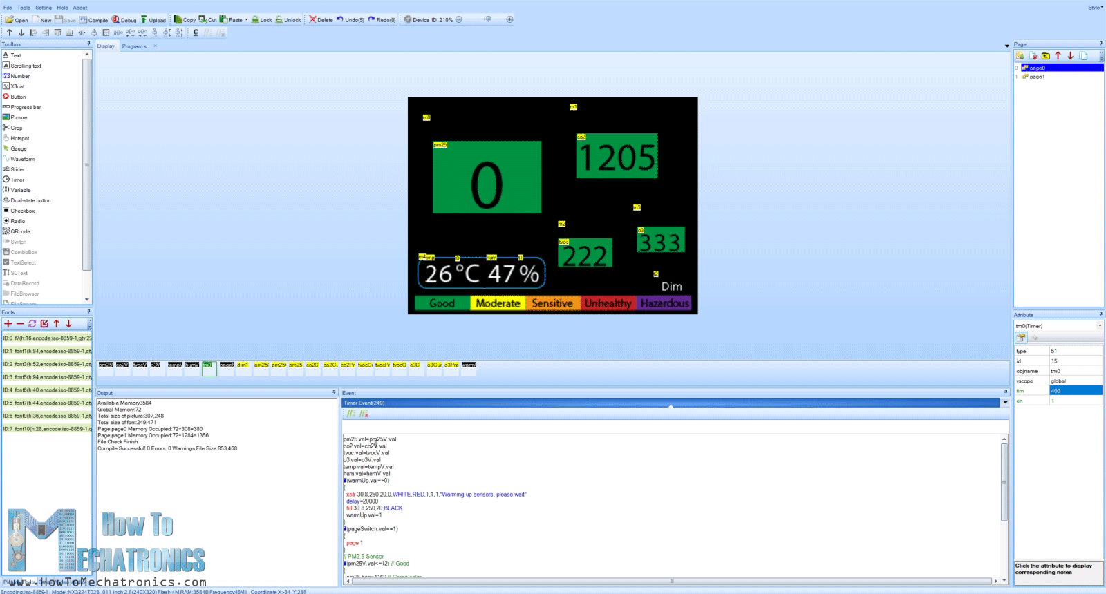 Making a GUI for the Air Quality Monitor using the Nextion editor