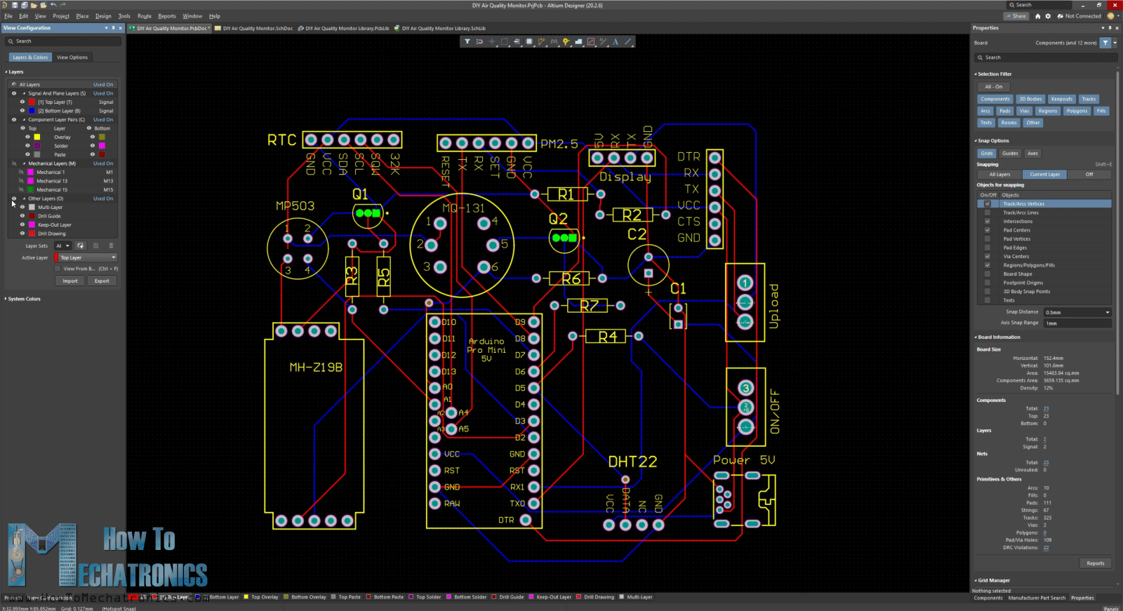 Making a custom PCB for the Arduino Air Quality Monitor using Altium Designer