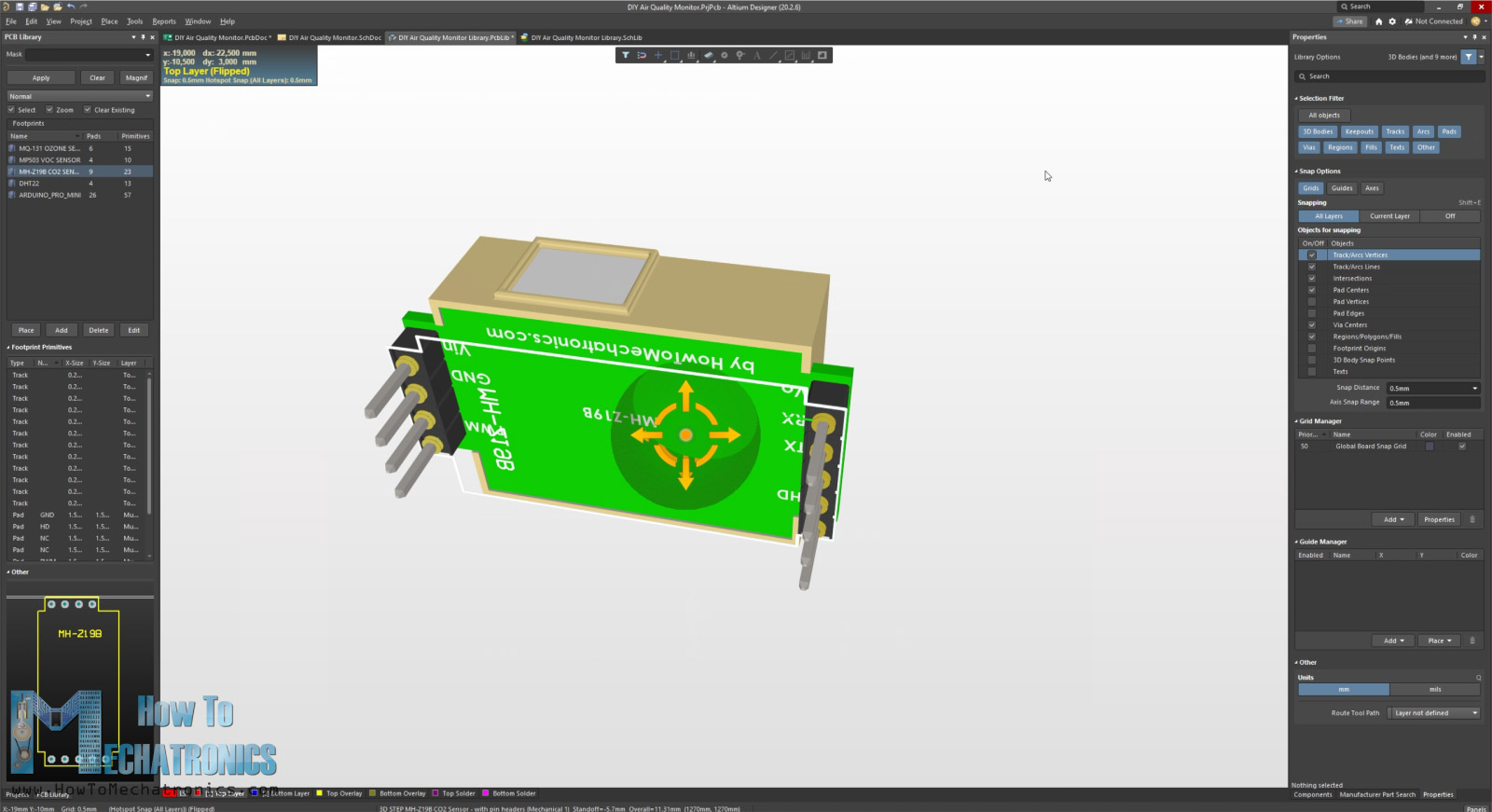 Making a footprint with a 3D model in Altium Designer