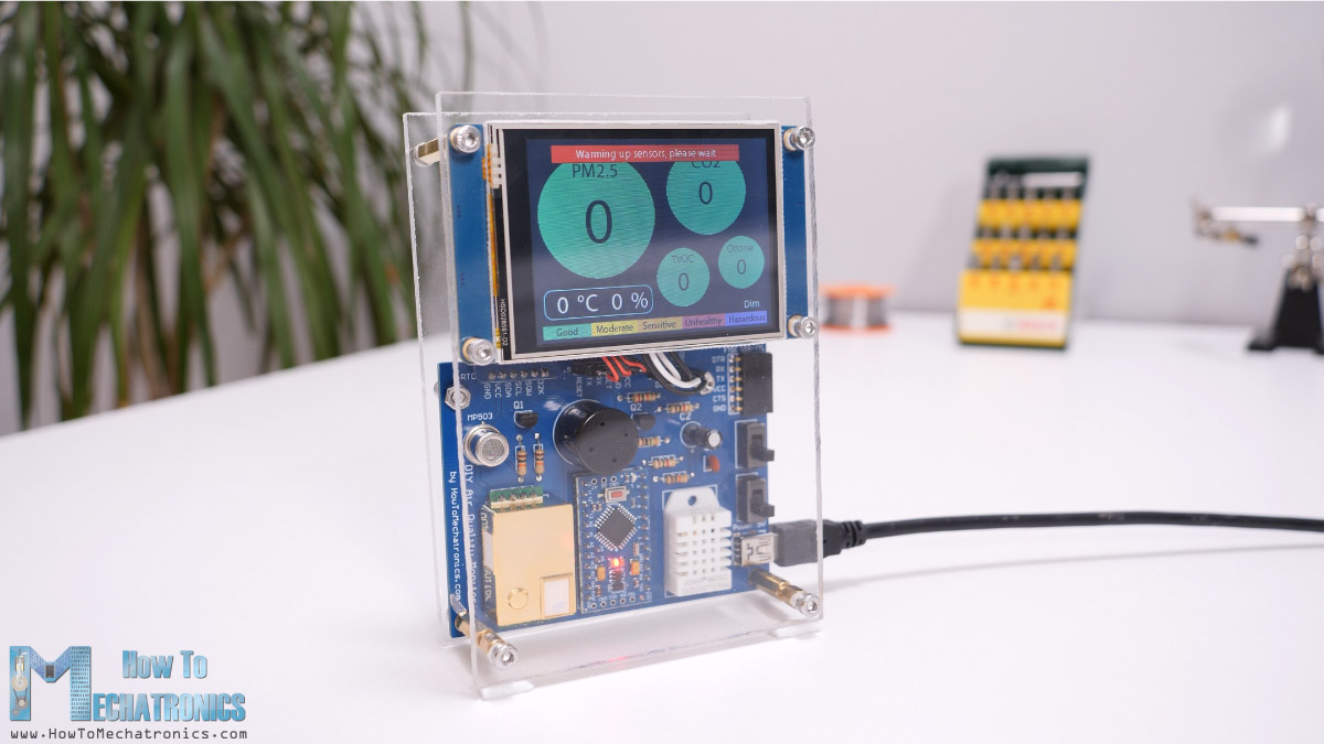 Warming up - burning in the sensors when starting the air quality monitor