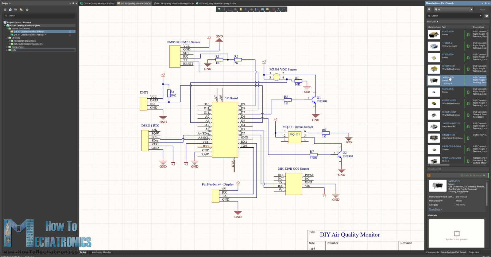 Working in Altium Designier - Arduino Air Quality Circuit Schematic
