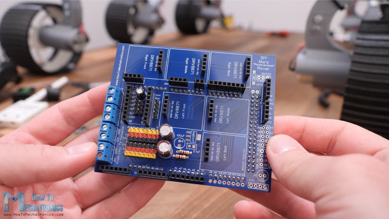 Arduino MEGA shield PCB for the DIY Mars Rover project