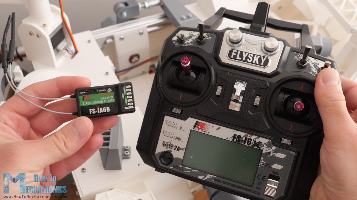 Flysky FS-i6X RC transmitter and receiver for controlling the DIY Mars Rover