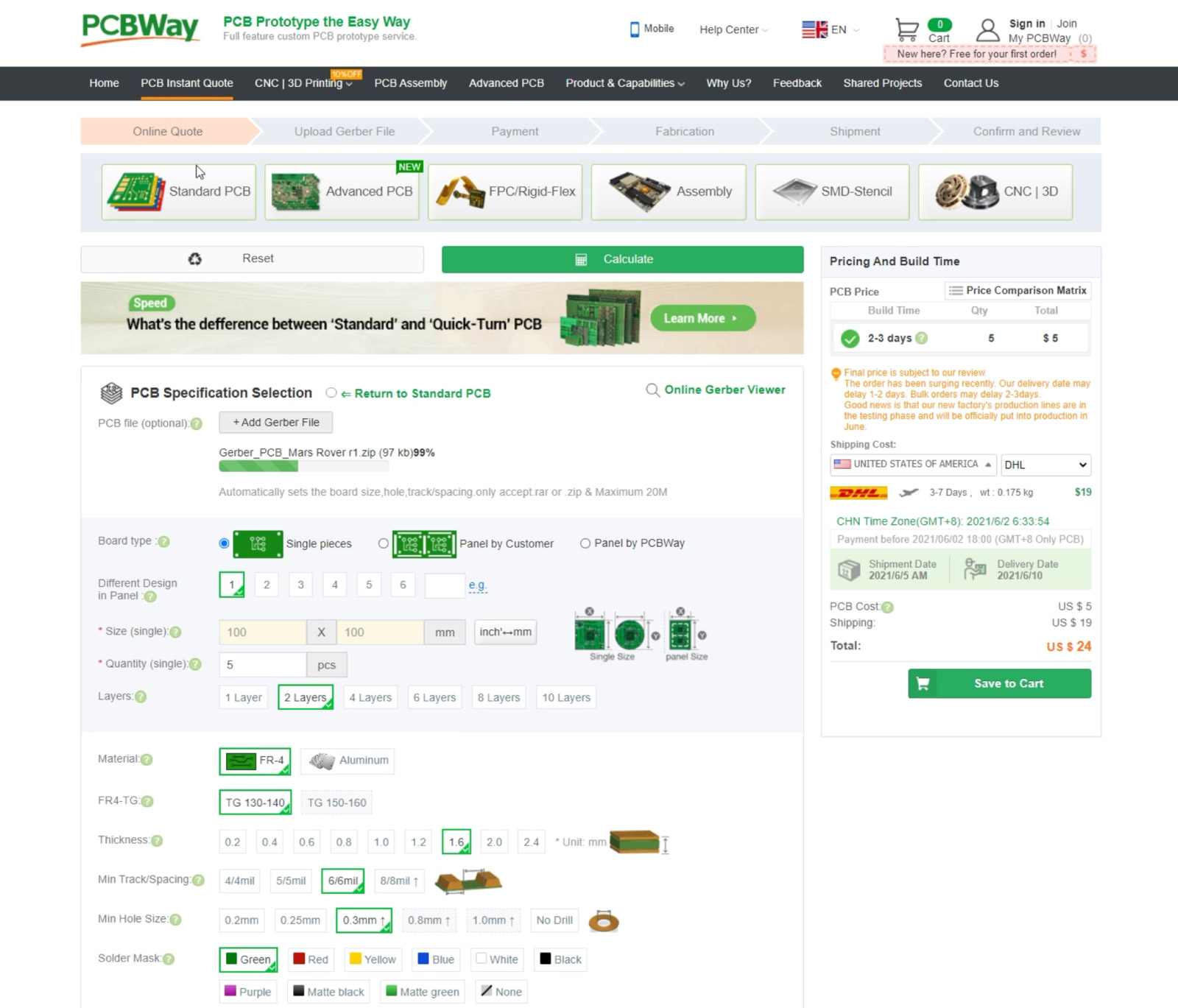 Ordering the custom PCB for the Rover from PCBWay