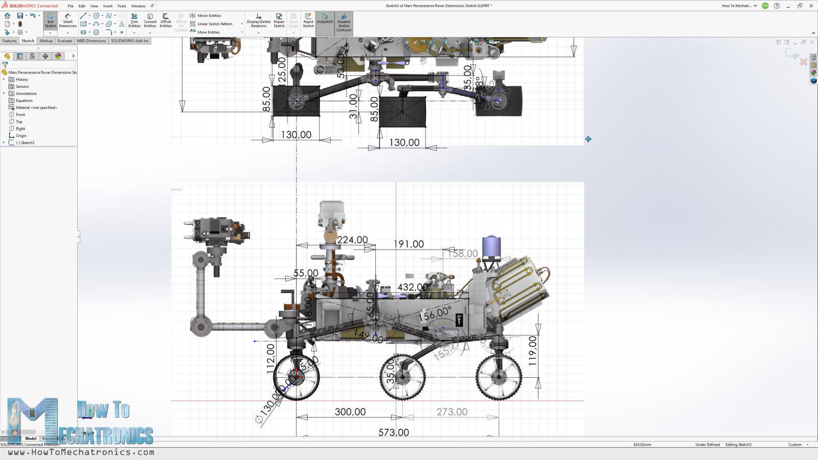 Taking key dimensions from the original rover