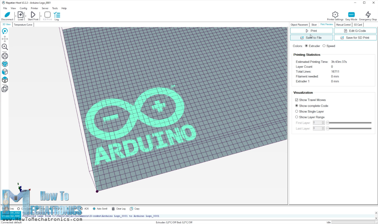 Arduino Logo G code in Repetier ready for laser engraving