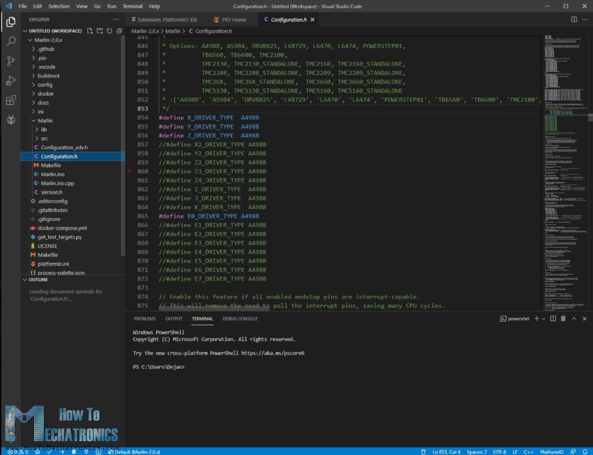 Editing marling firmware configuration h file in platformio