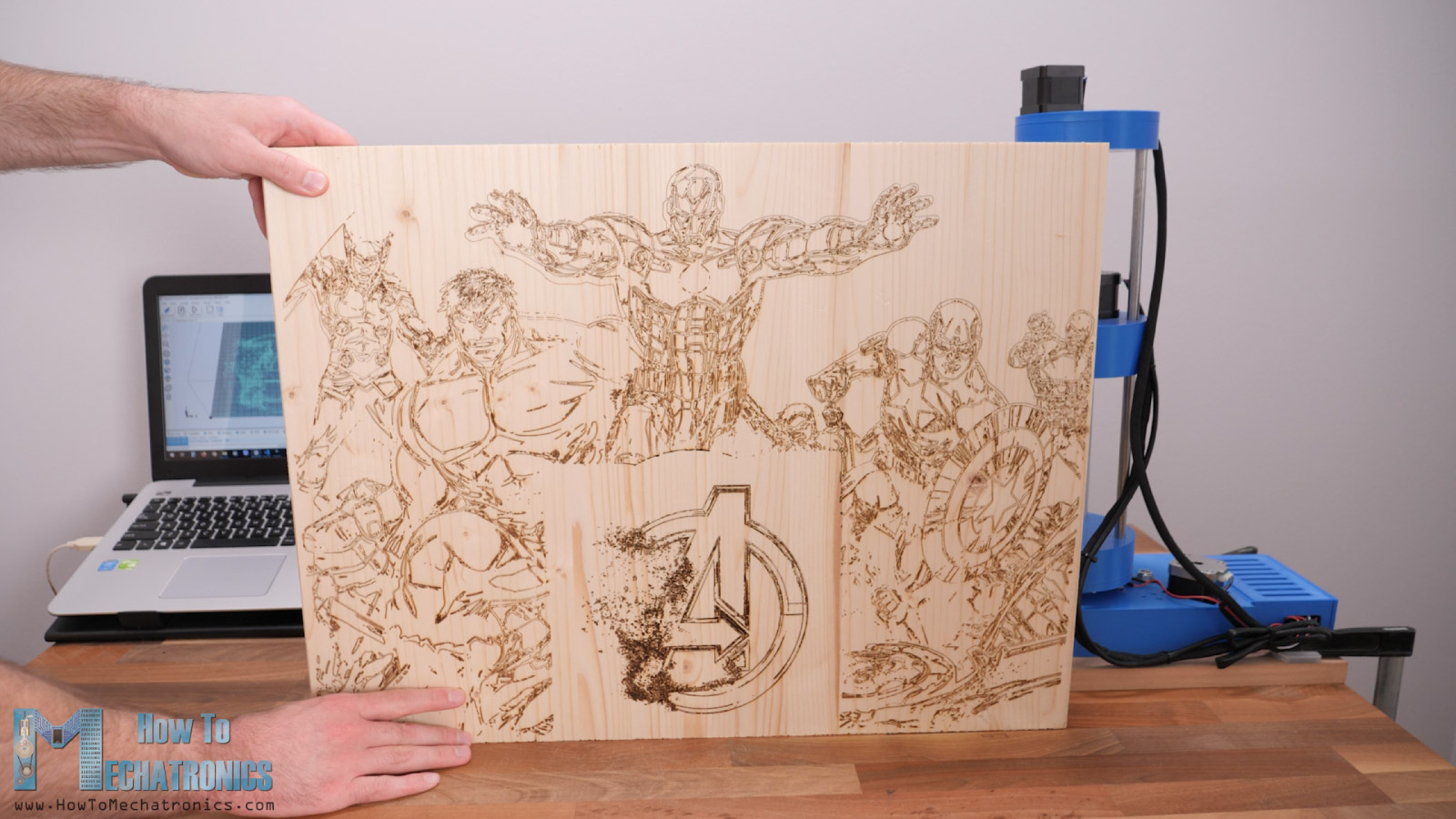 Laser Engraving huge Avengers drawing on 600 x 400 mm wooden board