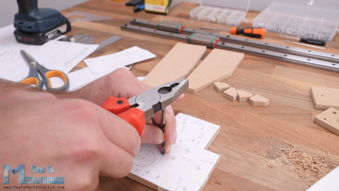 Marking the holes for drilling with a printed technical drawing
