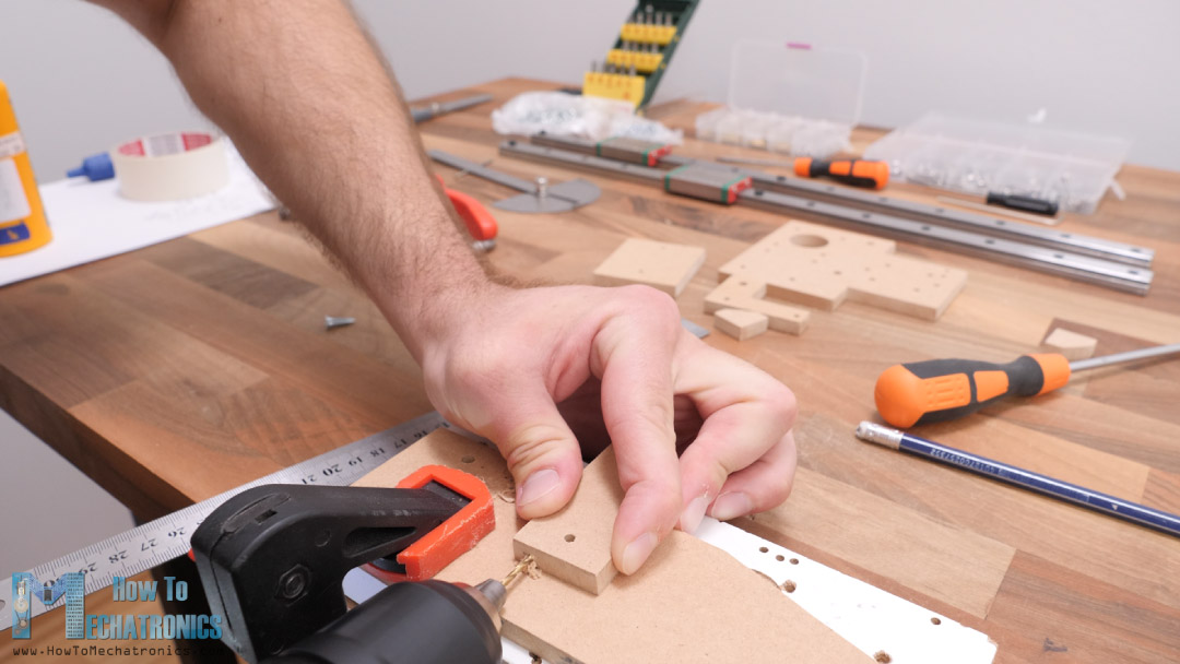 pre-drilling the MDF board with 2mm drill