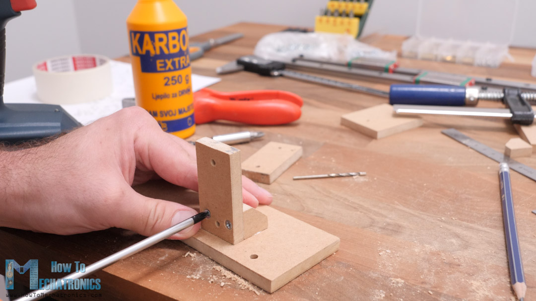 screwing the MDF parts together